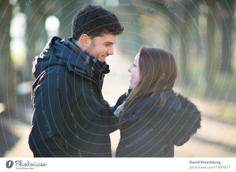 Human being Nature Youth (Young adults) Young woman Young man Winter 18 - 30 years Adults Love Autumn Spring Feminine Happy Couple Together Park