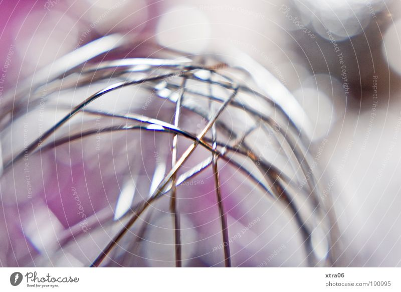 metal Decoration Kitsch Odds and ends Metal Steel Glittering Pink Silver Sphere Wire Wireframe wire netting lensbaby Colour photo Close-up Detail