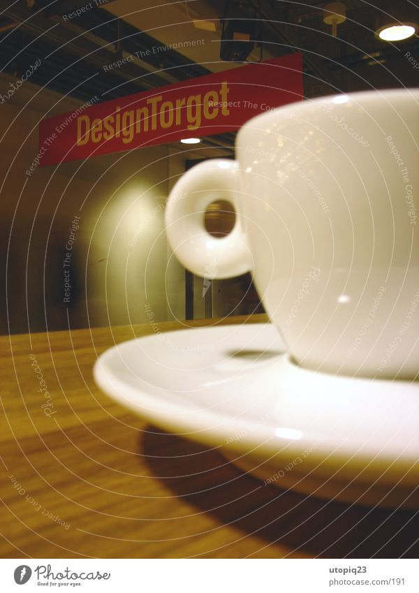Design Torget Espresso Cup Saucer Table Wood Stockholm Pottery Café Kitchen Signs and labeling Crockery design torget Sweden Macro (Extreme close-up)