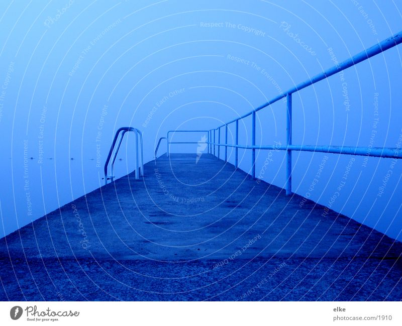 Water Lake Rain Fog Stairs Footbridge Handrail