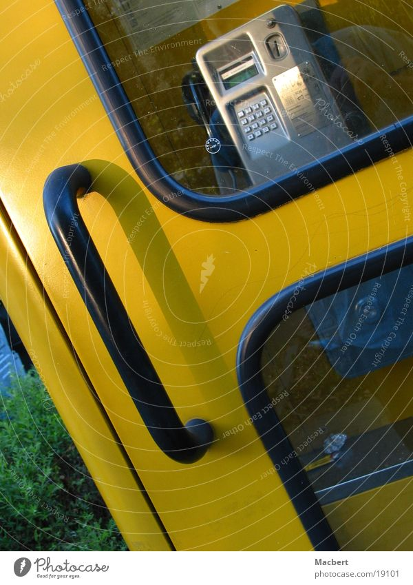 Black Yellow Glass Door Telephone Services Door handle Phone box