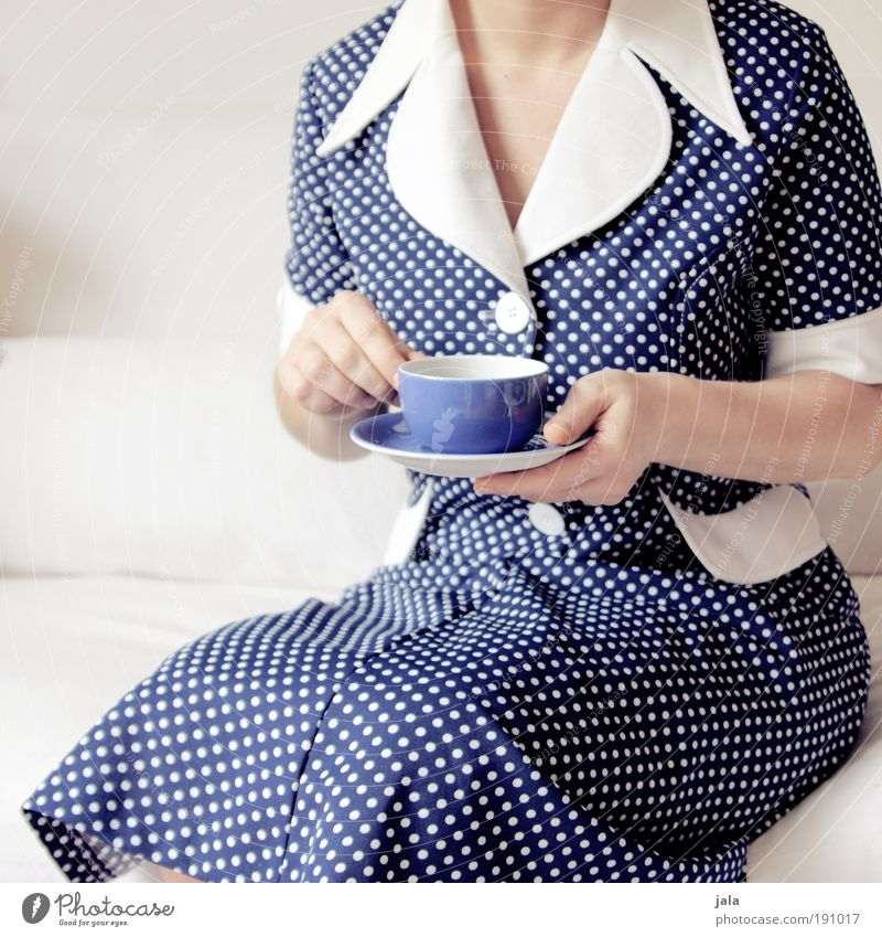 coffee addict Beverage Drinking Hot drink Hot Chocolate Coffee Tea Plate Cup Feminine Woman Adults Dress Blue Point Time To enjoy Delicious Calm Retro Former