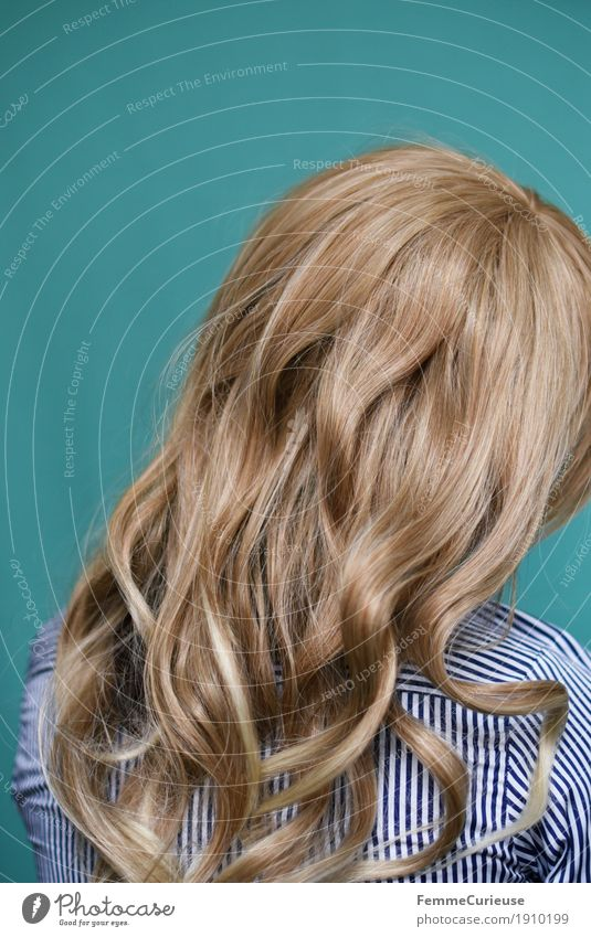 Human being Woman Youth (Young adults) Young woman 18 - 30 years Adults Feminine Hair and hairstyles Glittering Blonde Tilt Turquoise Long-haired Hide Curl Difference