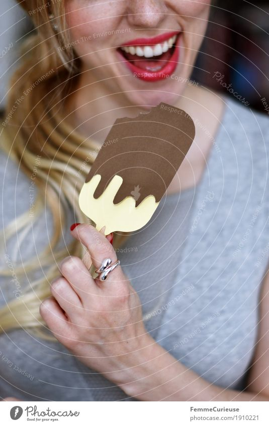 Human being Woman Youth (Young adults) Summer Young woman Hand 18 - 30 years Adults Eating Feminine Nutrition Blonde To enjoy Ice cream Delicious Teeth