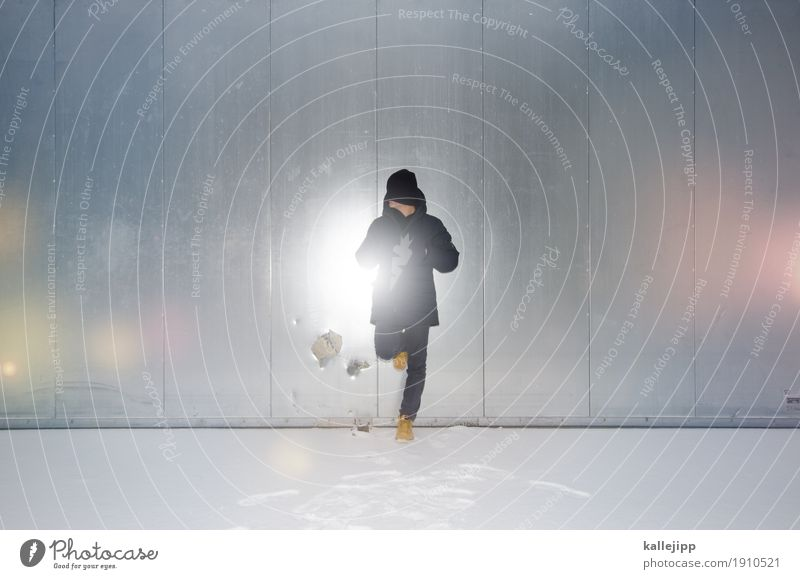 snow blind Human being Masculine Body Environment Winter Weather Snow Door Jeans Jacket Cap Stand Silver Squint Wait snow-blind Blind White Flash photo Dazzle