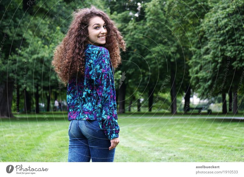 young Spaniard in the park Lifestyle Joy Leisure and hobbies Summer Flirt Human being Feminine girl Young woman Youth (Young adults) Woman Adults 1