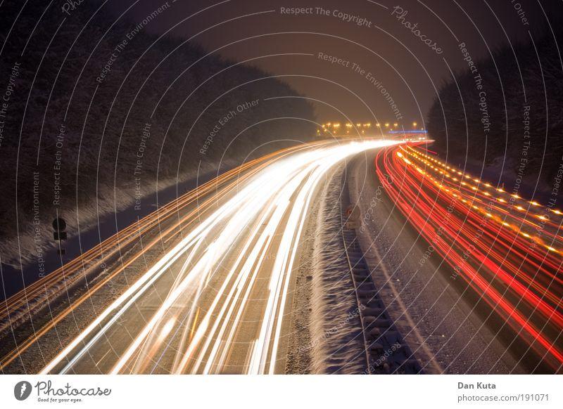 Transport Winter Snow Movement Street Night Exterior shot Light Speed Emotions Dangerous Tracks Highway Car lights Illuminate Stress