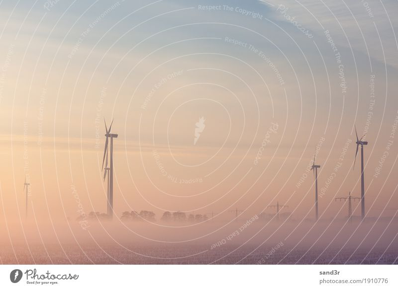Wind generator at sunrise in the fog Winter Wind energy plant Nature Sunrise Sunset Power Equipment Frost Generation Express train Industrial Photography