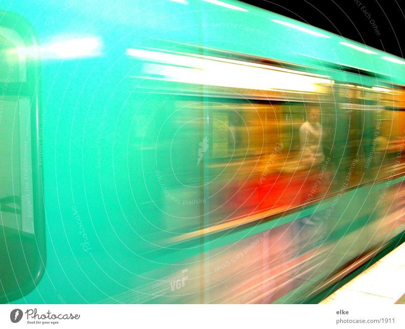 races past Speed Underground Man Transport Human being