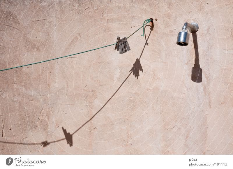 Shower Beautiful Wellness Relaxation Bathroom Brown Shower (Installation) Clothesline Clothes peg Shadow play Wall (building) Shower head Beige Colour photo