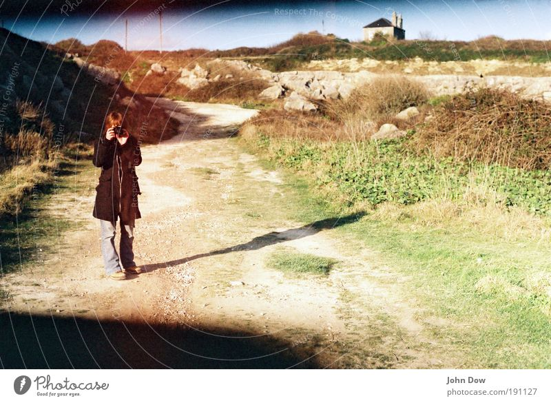 sundial Leisure and hobbies Vacation & Travel Tourism Trip Young woman Youth (Young adults) Beautiful weather Grass Bushes Village House (Residential Structure)