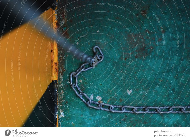 brainstorm II Chain Anchor Navigation Cruise Steamer Container ship Ferry Harbour Hang Yellow Green Black End Colour Bind Creepy Colour photo Subdued colour