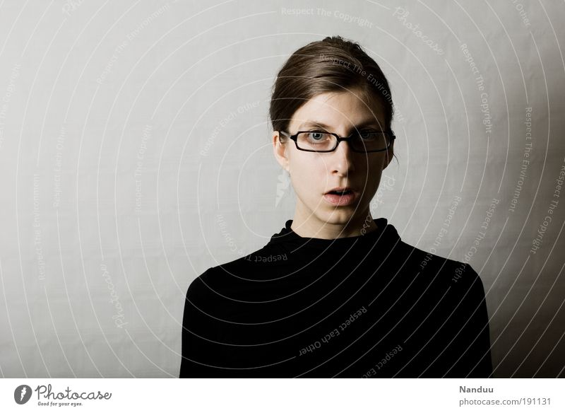 oops Human being Feminine Woman Adults 1 Nerdy Person wearing glasses Petit bourgeois Surprise Gray Clerk Colour photo Subdued colour Studio shot