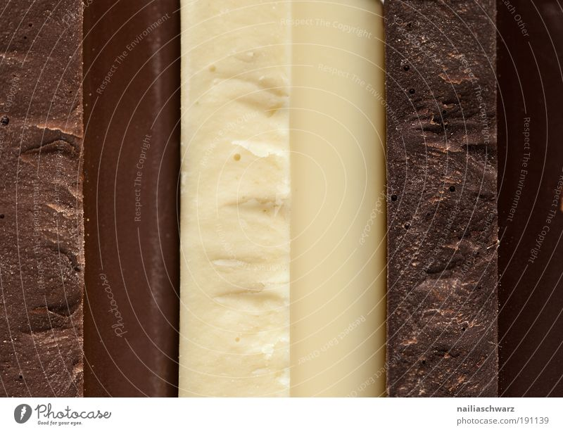 tricolour Food Candy Chocolate Nutrition Esthetic Sharp-edged Delicious Brown Yellow Black White Colour photo Interior shot Studio shot Close-up Detail