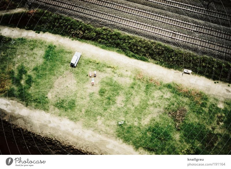 Miniature World #4 Logistics Wanderlust Rail transport Railroad tracks Car Lawn for sunbathing Recreation area Vacation & Travel Noise control Model-making