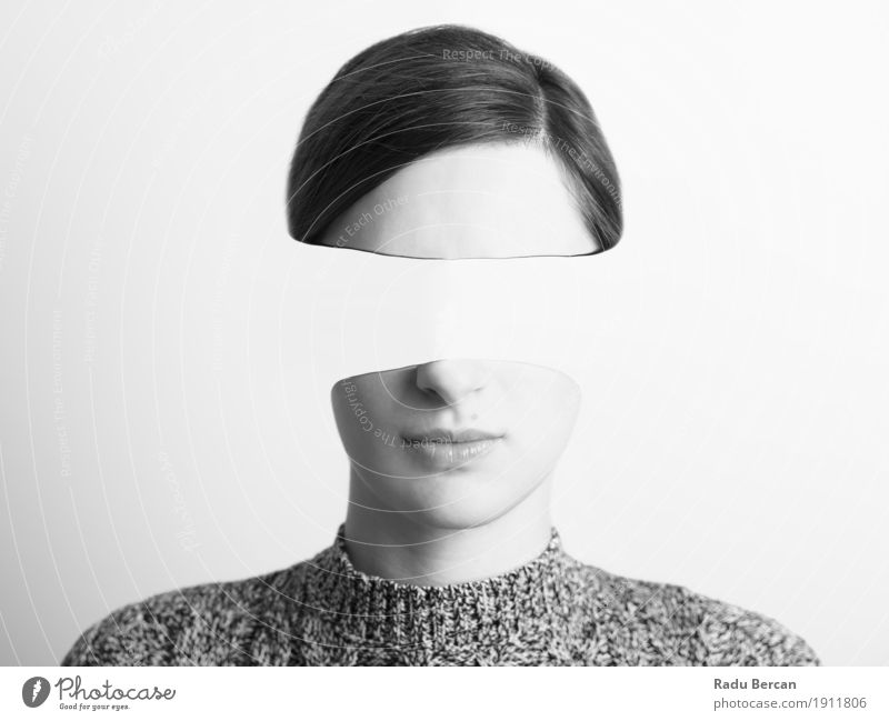 Black and White Woman Portrait Of Identity Theft Concept Human being Woman Youth (Young adults) Young woman White 18 - 30 years Black Face Adults Emotions Feminine Head Fear Retro Communicate Fantastic