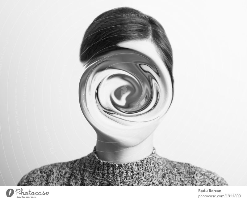 Black and White Abstract Woman Portrait Of Confusion Concept Human being Woman Youth (Young adults) Young woman White 18 - 30 years Black Face Adults Sadness Emotions Feminine Head Dream Fear Dangerous