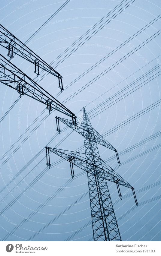 Blue Black Environment Energy industry Energy Technology Electricity Electricity pylon Ecological High voltage power line Electric Electricity generating station Provision Energy crisis Save energy Nuclear Power Plant