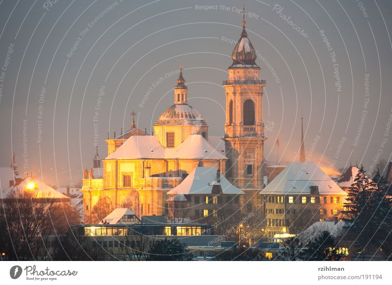 City Winter Cold Lighting Europe Church Tourism Switzerland Historic Holy Building Dome Night Sightseeing Cathedral