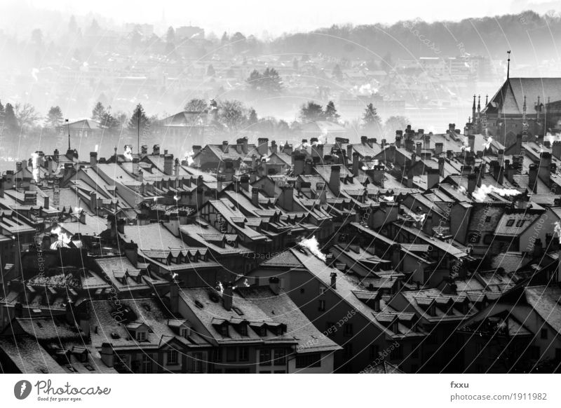 Bernese Old Town Switzerland Capital city Downtown Old town Deserted House (Residential Structure) Architecture Roof Chimney Moody Calm Black & white photo