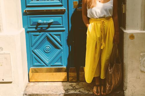 paris doors Lifestyle Style Vacation & Travel Summer Feminine Young woman Youth (Young adults) Woman Adults 1 Human being 18 - 30 years Town Old town Door