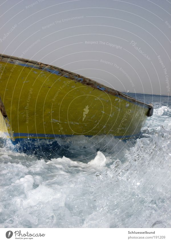 yellow boat Vacation & Travel Trip Freedom Cruise Summer Summer vacation Ocean Waves Water Drops of water Sky Cloudless sky Boating trip Fishing boat