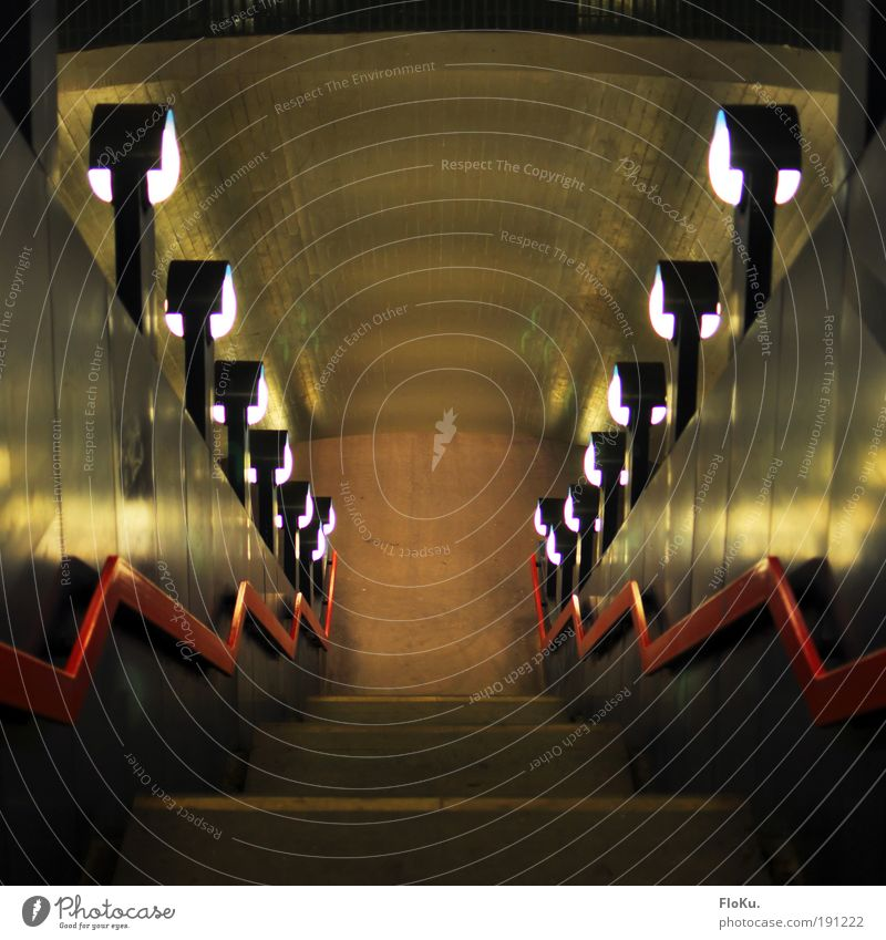 City Black Dark Brown Stairs Handrail Tunnel Street lighting Capital city Symmetry Sharp-edged Passenger traffic Pedestrian Subsoil Light Structures and shapes