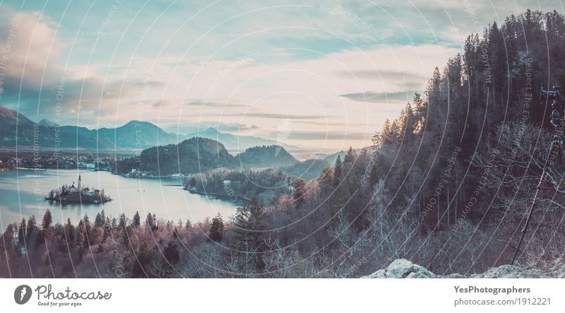 Panorama with lake Bled and the surroundings Vacation & Travel Island Winter Mountain Camera Nature Landscape Horizon Forest Lake Church Above Blue DSLR Alpine