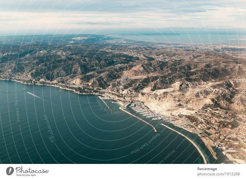 Plage de l'Estaque Environment Nature Landscape Beautiful weather Flying Mountain Hill Harbour Marseille Mediterranean sea Côte Bleue France Port City