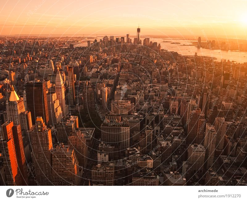 New York City from helicopter at sunset Sun Skyline Building Helicopter Aircraft Going Copy Space background Sunset USA ny nyc urban Manhattan Deserted