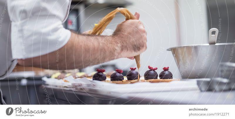 making pastries. Man Hand Adults Decoration Kitchen Dessert Make Baked goods Sugar Dough Ingredients Baker Cupcake Bakery Preparation Unrecognizable