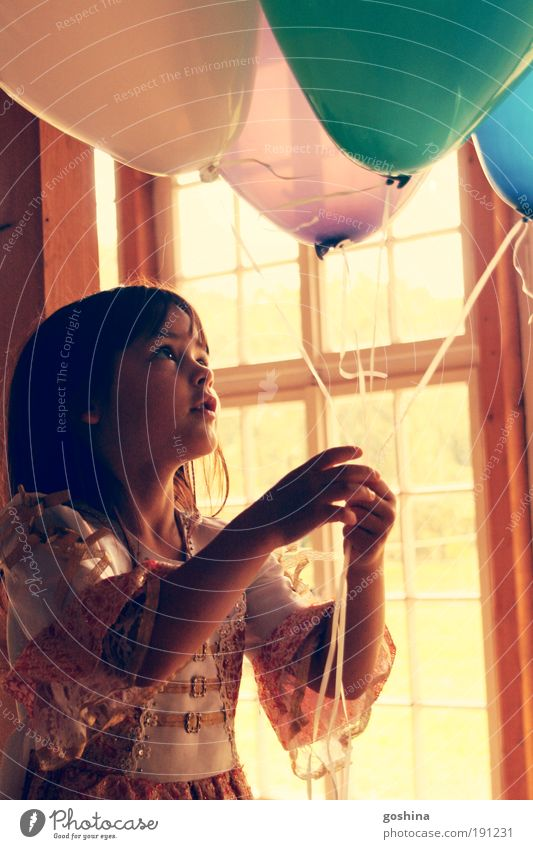 A child's dream in every balloon, hold her tight! Feasts & Celebrations Child Girl Infancy 1 Human being 3 - 8 years Window Dress Brunette Balloon Observe Free