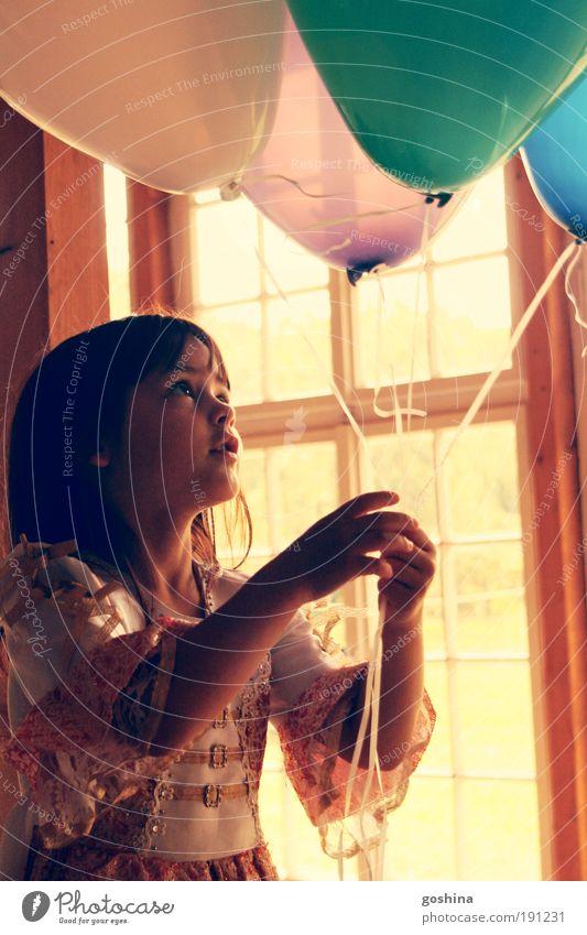 Human being Child Beautiful Girl Window Dream Feasts & Celebrations Infancy Free Cute Balloon Observe Dress Joy Idea Joie de vivre (Vitality)