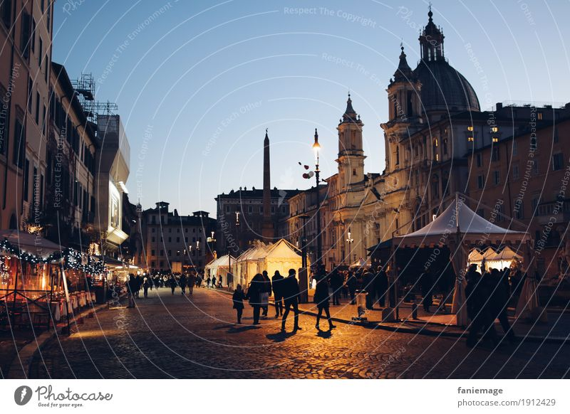 Piazza Navona Town Capital city Downtown Old town Emotions Moody Rome Italy Night life Night sky Domed roof Religion and faith Places Street Street lighting