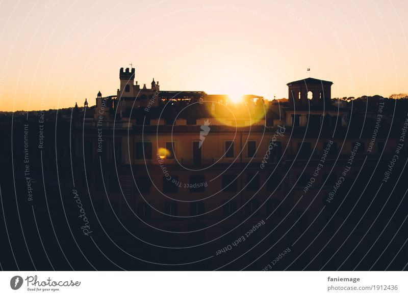 Sunset in Rome Lifestyle Happy Downtown Old town House (Residential Structure) Facade Moody Italy Capital city Pink Orange Black Point of light Vantage point
