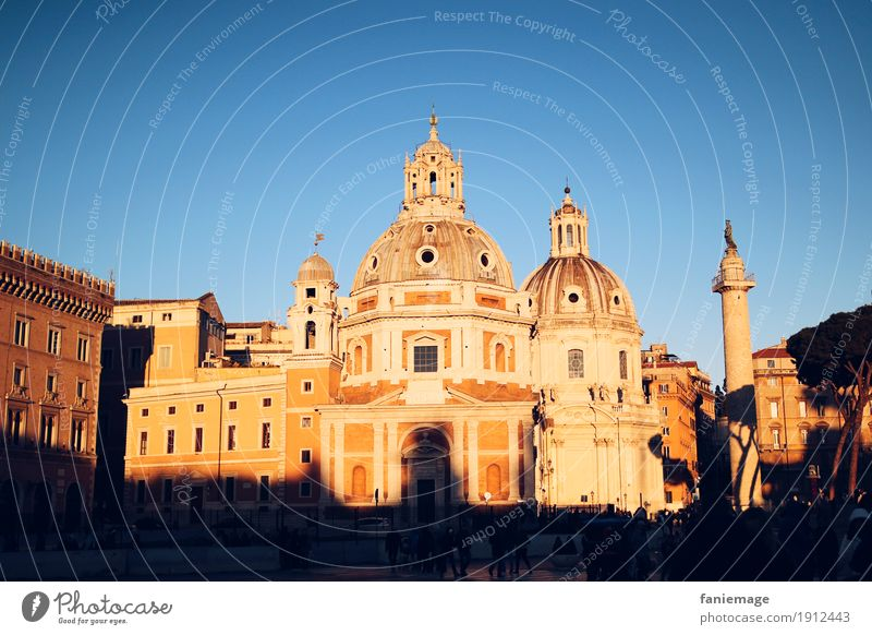 Santa Maria di Loreto Town Capital city Downtown Old town Church Emotions Moody Piazza Venezia trajan column Column Rome Italy Evening sun Dusk Picturesque