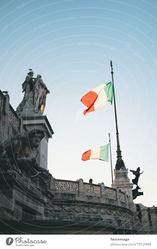Roma IX Town Capital city Downtown Old town Italy Rome Patriotism Flag Monument national anthem Red Green White Deserted Free Freedom Flying Judder Statue