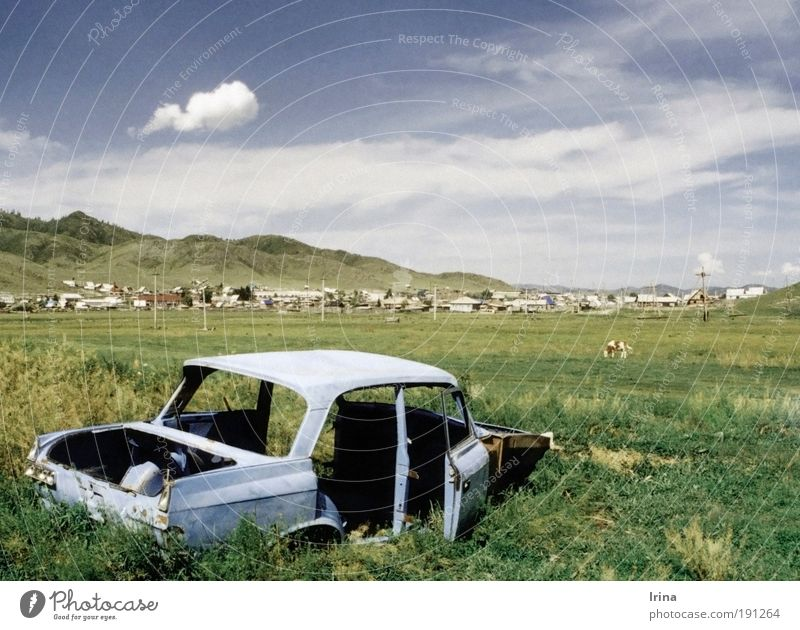 Sky Loneliness Far-off places Mountain Car Asia Vantage point Change Village Analog Mongolia Russia Vintage car Steppe Environment Motor vehicle