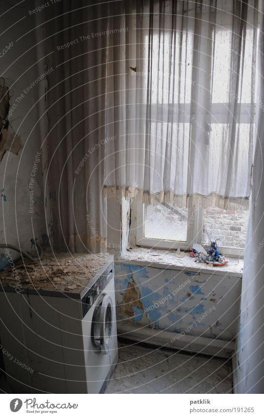 Old Loneliness Colour Gloomy Derelict Drape Shabby Window pane Curtain Untidy Washer Old fashioned Bursting Detached house Window board