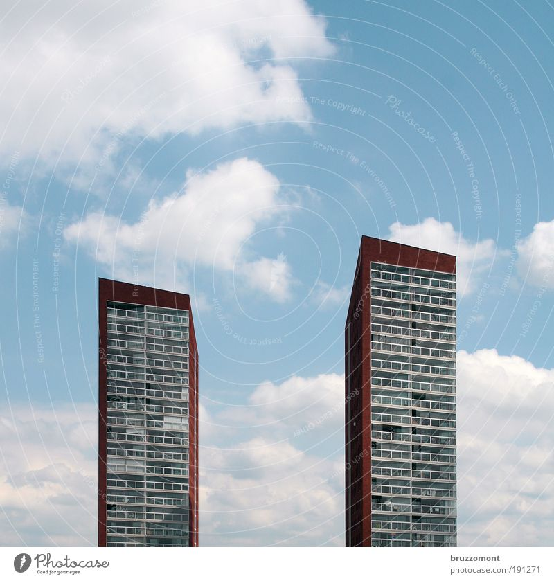 Sky White Blue City Red Summer House (Residential Structure) Clouds Building Architecture Elegant High-rise Tall Facade Modern