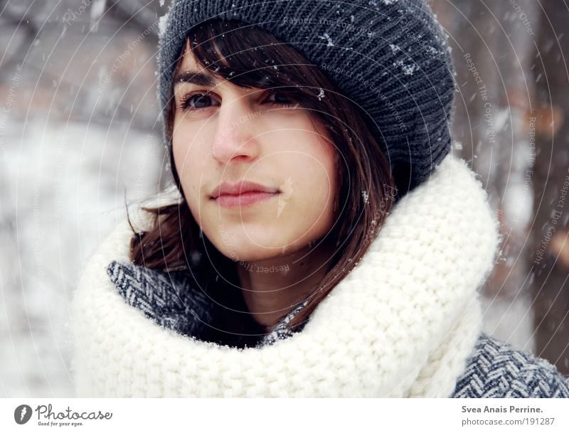 Human being Nature Youth (Young adults) Beautiful Tree Winter Face Adults Feminine Emotions Hair and hairstyles Style Snowfall Wind Mouth Modern