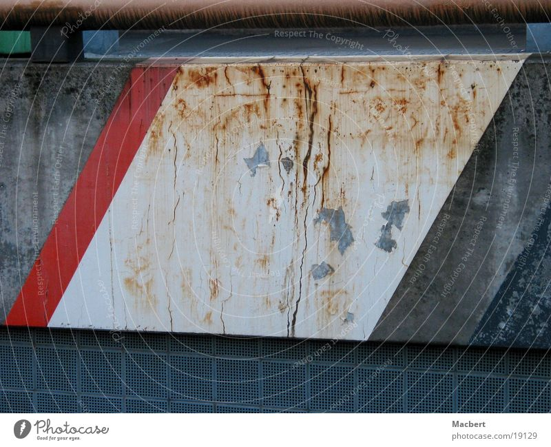 rusty Wall (barrier) Red White Dirty Stripe Architecture Rust rhomb Patch Crazy