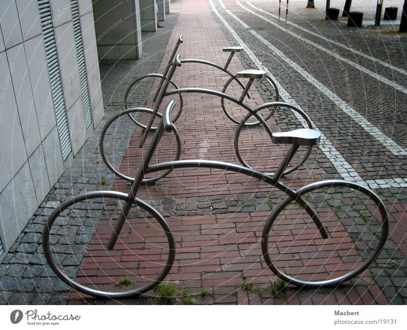 parked Pedestrian precinct Wall (barrier) House (Residential Structure) Stripe Auburn White Things Bicycles stylized Metal Paving stone