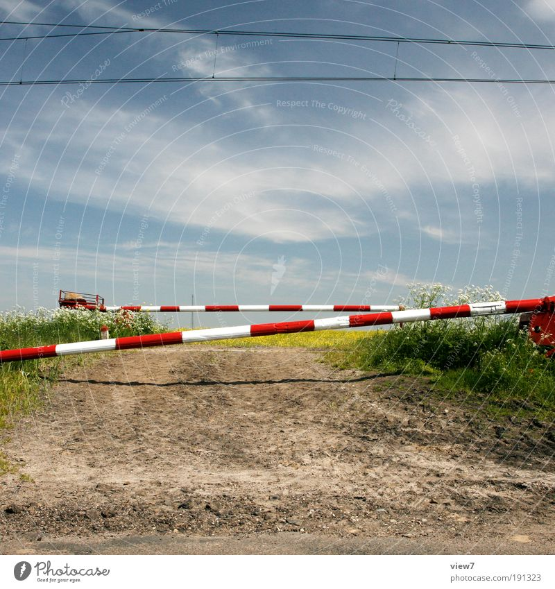 level crossing Nature Plant Sky Cloudless sky Beautiful weather Meadow Field Rail transport Railroad crossing Control barrier Railroad tracks Old Esthetic