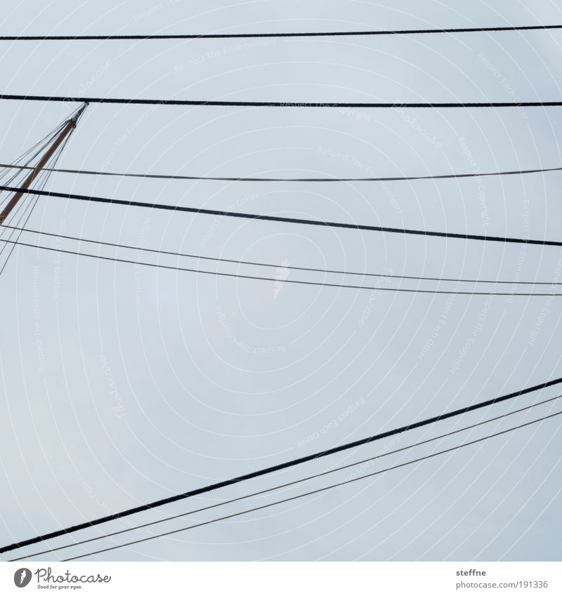 Heidi Cable Navigation Sailboat Sailing ship Esthetic Wire High voltage power line Colour photo Exterior shot Pattern Structures and shapes