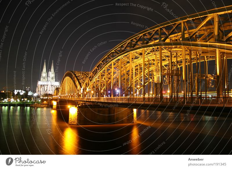 Cologne Cathedral, Rhine and Hohenzollern Bridge at night River bank Germany Europe Dome Manmade structures Architecture Church Tourist Attraction Landmark