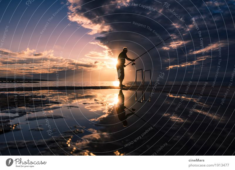 Hope for the big catch Fishing (Angle) Sports Masculine 1 Human being Sunrise Sunset Summer Beautiful weather Catch Hunting Dream Wait Throw Esthetic Success