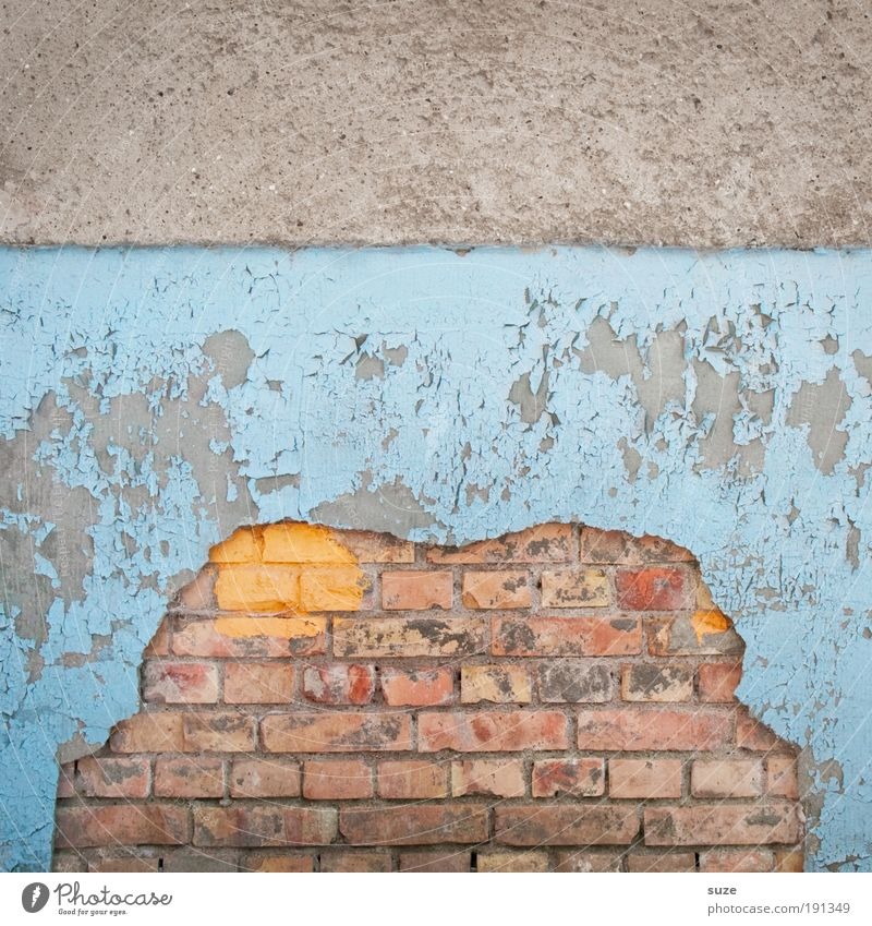 Blue Old Wall (building) Dye Wall (barrier) Gray Facade Dirty Broken Transience Derelict Decline Brick Plaster Flake off Abstract