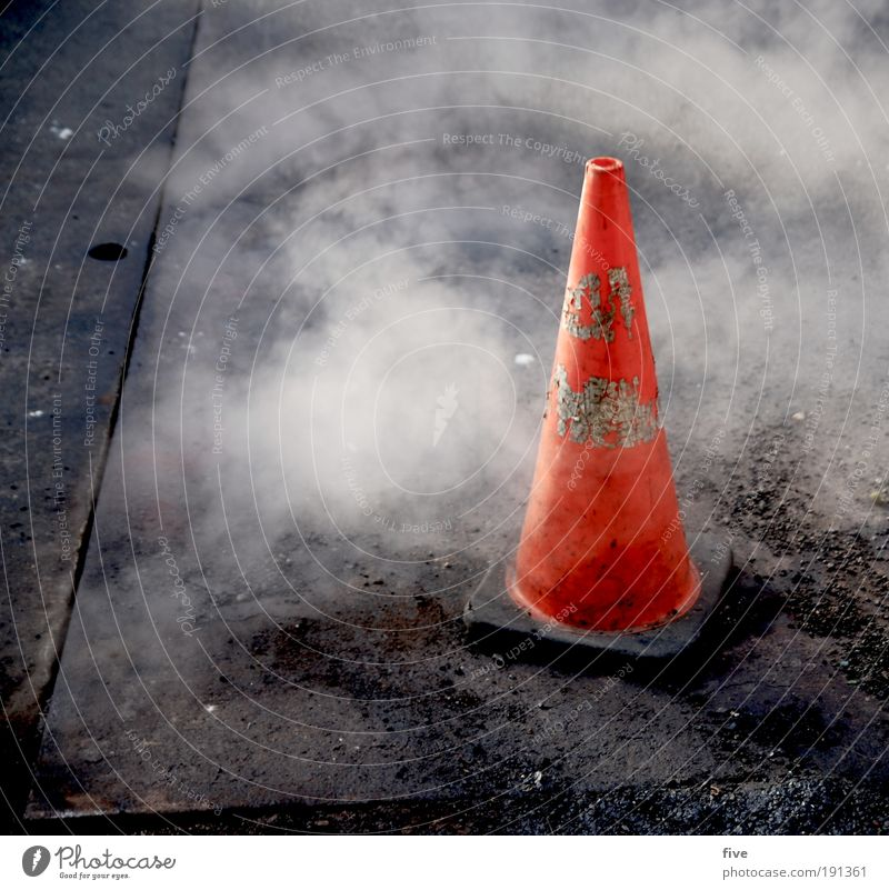 pointy watch out New York City Americas USA Populated Transport Street Lanes & trails Work and employment Dirty Road sign Tar Steam Colour photo Exterior shot