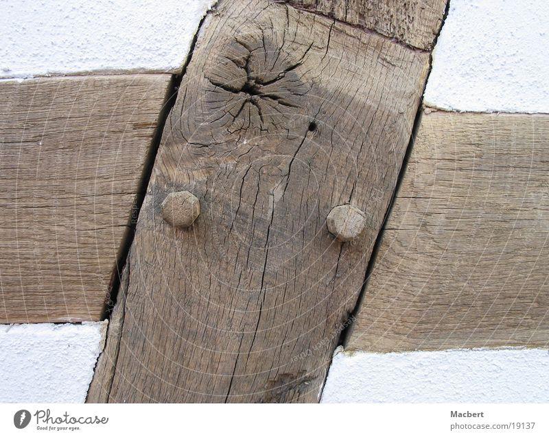 Old craftsmanship Wood Plaster White Brown Round Architecture Joist Crazy wooden dowels Crack & Rip & Tear Back